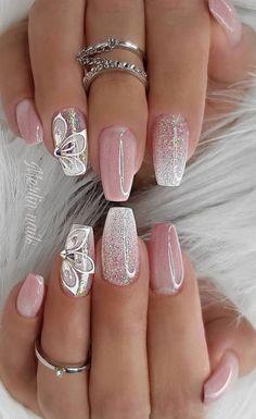 Shiny Nails, Bright Nails, Glam Nails, Cute Nails, Neutral Nails, Bright Nail Designs, Pretty Nail Designs, Pretty Nail Art, Nail Designs With Glitter