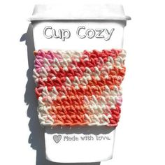 Keep you fingers cool and your coffee hot with this cheery candy crocheted cup cozy. This hand crocheted cozy is a beautiful blend of white, #craftshout