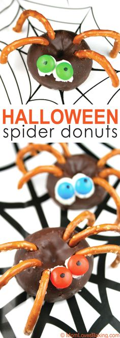 An easy Halloween treat the kids will love and they can even make them! Here's a Halloween treat the kids can make. My 9 year old son and 12 year old daughter made these Halloween Spider Donuts. So easy and fun to eat! The hardest part is breaking the pretzels properly. It's not that hard,..