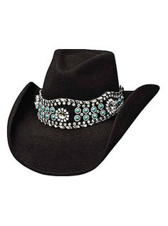 Bullhide Hats Western Fashion Felts Rhythm Of The Night 0627BL Womens Black, $76.00