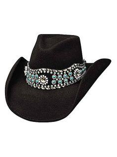 Bullhide Hats Western Fashion Felts Rhythm Of The Night 0627BL Womens Black, $76.00
