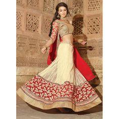 Net Cream Lehenga Choli Dress Material - 67648