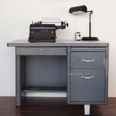 tanker desk by glassdeer on Etsy Office Inspiration, Home, Office Essentials, Desk, Furniture, Metal Desks, Retro Office, Industrial Chic, Office Interiors