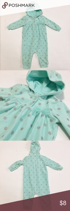 Carters Bodysuit Like new Carters one piece in excellent condition. It is teal with silver polka dots. Super cute and nice and warm. Carter's One Pieces Bodysuits