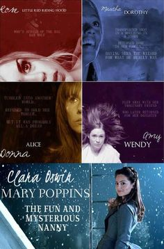 Rose/Little Red Riding Hood, Martha/Dorothy, Donna/Alice, Amy/Wendy, Clara/Mary Poppins