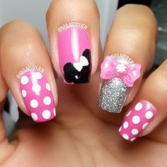 #beauty #nails #dots #minnie #bow