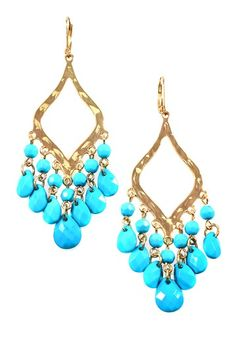 Hammered Gold & Turquoise Lucite Diamond Earrings - tres Trina