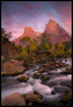 Zion National Park, Utah  Zion, Moonset by Marc Adamus
