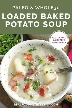 This Paleo Loaded Baked Potato Soup is creamy hearty and makes a great side dish Gluten free dairy free low FODMAP and sure to become a favorite realfoodwithjessica Paleo Recipes Easy, Fodmap Recipes, Whole 30 Recipes, Dairy Free Recipes, Real Food Recipes, Soup Recipes, Gluten Free Soup, Diet Recipes, Cooking Recipes