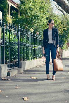 Michelle's Style File | Melbourne fashion blog | Australian style blog | classic outfit | Jeanswest jeans, prima denim | grey tee | Louenhide tan tote | Versace black jacket, blazer | RayBan #michellesstylefile