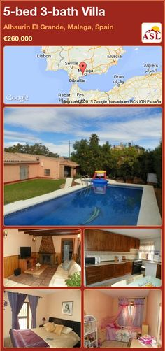 Villa for Sale in Alhaurin El Grande, Malaga, Spain with 5 bedrooms, 3 bathrooms - A Spanish Life Murcia, Private Garden, Private Pool, Malaga Spain, Bar Areas, Fruit Trees, Spanish, Villa, Bath