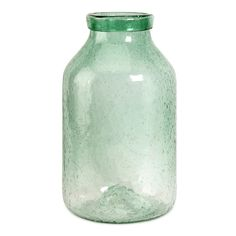 Large Green Bubble Glass Jar.
