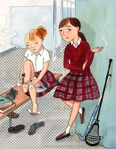 Tweens, rebellious teens, smoking in the bathroom, private school, school uniform, young readers, editorial illustration, Violet Lemay illustration