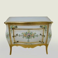 french painted furniture | French style furniture hand painted 3 drawers storage sideboard wooden ...