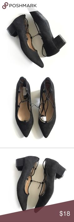 SUEDE.  COURT.  SHOES. * POINTED TOE * HEELED FLATS * ADJUSTABLE LACES * BRAND NEW NEVER WORN * SIZE 7.5 * ESPRIT BRAND  * CHIC * 1.5 INCH HEEL Esprit Shoes Heels