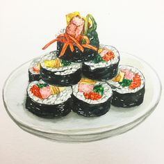 Sushi, Real Food Recipes, Yummy Food, Cute Food Art, Food Sketch, Food Cartoon, Watercolor Food, Food Painting, Food Drawing