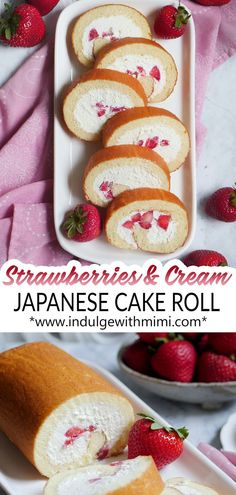 Fresh Strawberry Cream Japanese Cake Roll A fluffy and moist Japanese swiss cake roll filled with fresh strawberries and a not-too-sweet whipped cream that is stabilized with gelatin. The most heavenly dessert. Asian Desserts, Köstliche Desserts, Dessert Recipes, Plated Desserts, French Desserts, Food Cakes, Cupcake Cakes, Cupcakes, Swiss Cake