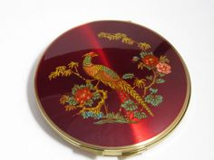 Vintage Stratton England Ruby Red Asian Pheasant Bird Compact Vanity Mirror Case