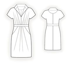 Tunic - Sewing Pattern #4216 Made-to-measure sewing pattern from Lekala with free online download. Semi-fitted, Waist band, Pleats, Jewel neck, Stand collar, Convertible collar, Short sleeves, Whole-cut sleeves, Knee length, Tulip skirt, On-seam / front hip pockets