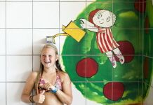 Sundstabadet barnavdelningen illustration av Inger och Lasse Sandberg