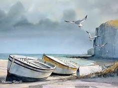 row boats at shore line - aquarelle technique - Recherche Google