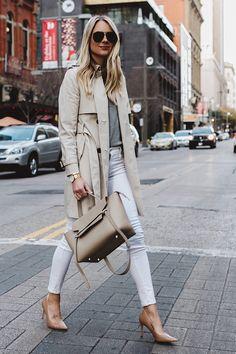 Blonde Woman Wearing Club Monaco Trench Coat Grey Sweater White Skinny Jeans Nude Pumps Celine Belt Bag Aviator Sunglasses Fashion Jackson Dallas Blogger Fashion Blogger Street Style