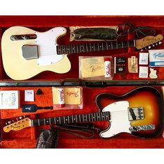 """Same model, different sound and vibe. The 1966 Esquire Custom was probably custom ordered as it came with an unusual """"A"""" neck which has the narrowest width"""