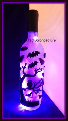 DIY Halloween Wine Bottle Light