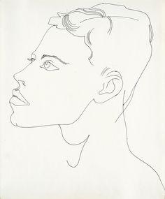 Andy Warhol (American, 1928-1987), Unidentified male, c.1956. Black ballpoint on Manila paper, 43.3 x 35.3 cm.