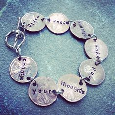 """Jewelry Making Bracelets Change your thoughts and you change your world, penny bracelet - unique hand-stamped penny bracelet, """"Change your thoughts and you change your world. Penny Jewelry, Spoon Jewelry, I Love Jewelry, Wire Jewelry, Jewelry Crafts, Beaded Jewelry, Silver Jewelry, Handmade Jewelry, Jewelry Design"""