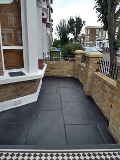 Dulwich And East Dulwich Victorian Black And White Mosaic Tile Path London Stock Brick Garden Wall Rails And Gate White Mosaic Tiles, Exterior Tiles, House Front, Garden Tiles, Garden Wall, Front Door, Victorian Front Garden, Terrace House Exterior, Brick Wall Gardens