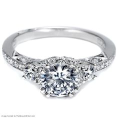 Tacori three-stone 18k white gold engagement ring