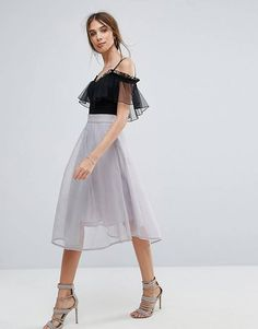db2e9a0a87e New Look Midi Skater Skirt Gray Skirt