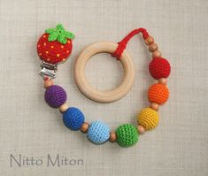 Wooden pacifier clip Rainbow Pacifier holder Dummy by NittoMiton