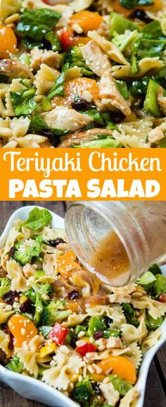 Teriyaki Chicken loaded with veggies, mandarin oranges, pasta and of course a sesame dressing makes up the yummiest teriyaki chicken pasta salad ever!