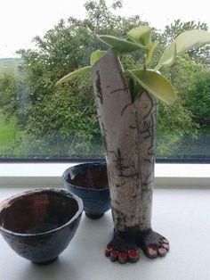 Rakubrændt vase