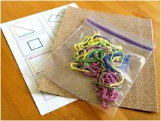 quiet time activity with yarn and sand paper
