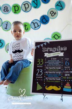 First Birthday Chalkboard Boy Poster by DarlingSailorDesigns, $15.00