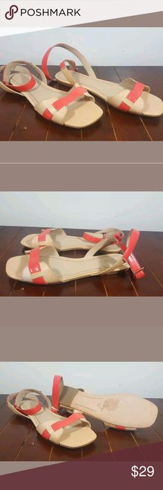Elizabeth and James Neon Paige Sandals Cute tan sandals with an orange accent from Elizabeth and James In excellent condition and basically unworn Elizabeth and James Shoes Sandals