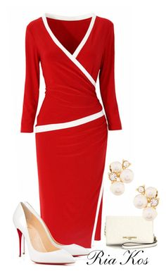 red dress by ria-kos on Polyvore featuring Anne Klein