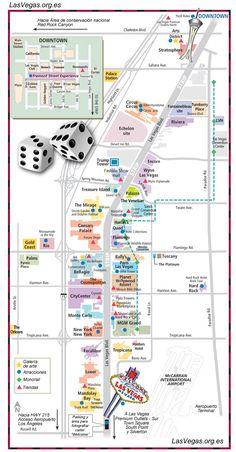 Mapa del Strip de Las Vegas con la localización de hoteles, puntos de interés cercanos, recorrido del tranvía, galerías de arte, tiendas, aeropuerto...