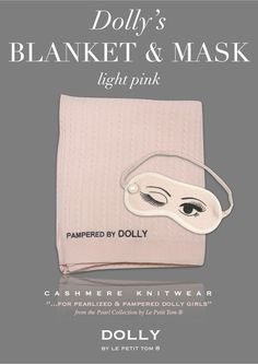 DOLLY CABLE KNIT BLANKEE + MASK PEARLED PAMPERING SET light pink