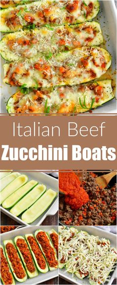 This recipe features hollowed out zucchini halves stuffed with Italian beef mixture and lots of Mozzarella cheese on top. It's a perfect summer dish that's light but quite filling. Beef Zucchini Boats, Healthy Vegetable Recipes, Sauteed Vegetables, Veggies, Easy Dinner Recipes, Delicious Recipes, Amazing Recipes, Easy Recipes, Yummy Food