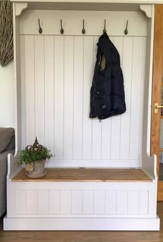 Bench With Coat Hooks Tall Monks Bench With Coat Hooks Entryway Bench Coat Hooks Coat Storage Small Space, Hallway Coat Storage, Coat Hooks Hallway, Coat And Shoe Storage, Rustic Storage Bench, Bench With Storage, Storage Hooks, Smart Storage, Farmhouse Bench