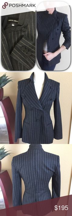 """Giorgio Armani⚜️Stunning stripe Gray wool Jacket Giorgio Armani⚜️Stunning stripe Gray wool Jacket/Blazer.  Dark gray with tan stripe detail. Unique front button design to wear front closed like a jacket or open like a blazer. Completely lined in soft silk.  Excellent condition.  Measures 28.5"""" long 17"""" across bust and 23.5"""" long sleeves. States size 38 fits 2-4 or a small Giorgio Armani Jackets & Coats"""