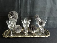 Vintage Crystal Toasting Glasses and Silver Plated Serving Tray by vagabondsandcaravans on Etsy
