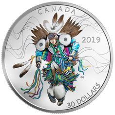 """Today the Royal Canadian Mint joined McGill University's First Peoples' House Annual Powwow to unveil a silver collector coin celebrating the """"pageantry"""" of the Fancy Dance, an """"expression of Indigenous pride and heritage"""", reads a press statement. Canadian Coins, Canadian Art, Native Canadian, Silver Coins For Sale, Coin Art, Pow Wow, World Coins, Effigy, Colored Highlights"""