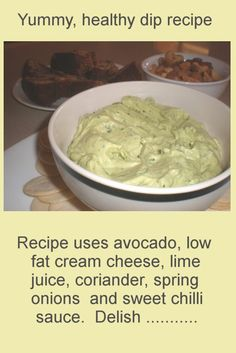 Avocado and Cream Cheese Dip.   Easy to whip up and healthy too. For more easy recipes see: http://www.cheap-and-easy-recipes.com