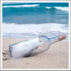 Beach Message in a Bottle. Commerate or Celebrate. Send a message in a bottle commerating a special event or celebrating an island getaway. Use as a tabletop accent; send as a unique birth announcement, wedding invitation or seaside birthday wish. Includes recycled glass bottle, cork, glue, paper scroll, pencil, shells and sand.