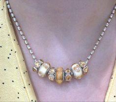 Pandora champagne rice necklace combo :)